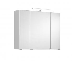 Held Möbel 3D Spiegelschrank Cardiff in Weiß 80 cm breit mit LED Aufbauleuchte