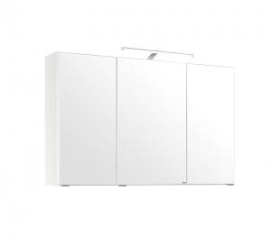 Held Möbel 3D Spiegelschrank Florida in Weiß 100 cm breit mit LED Aufbauleuchte 005.1.0001