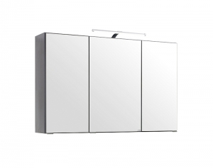 Held Möbel 3D Spiegelschrank Florida in Graphitgrau 100 cm breit mit LED Aufbauleuchte 005.1.0042
