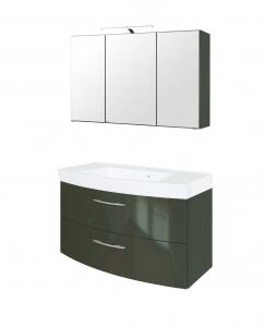 Held Möbel Waschtisch Set Florida 100 cm 2-teilig mit Vollauszügen in grau hochglanz inkl. Mineralgussbecken in weiß 062.1.3135
