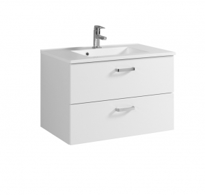 Held Möbel Waschtisch Bologna in hochglanz weiß 80 cm mit Vollauszügen inkl. Mineralgussbecken in weiß 098.1.2133