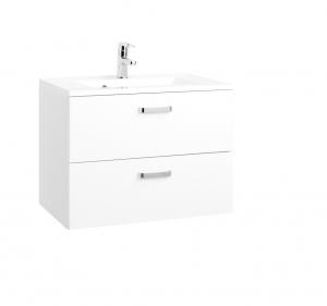 Held Möbel Waschtisch Bologna in hochglanz weiß 70 cm mit Vollauszügen inkl. Mineralgussbecken in weiß