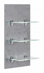 Posseik Möbel Wandreagal Viva in Beton optik grau mit Glasablagen und LED Beleuchtung VIVALED000216DE