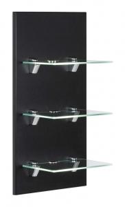 Posseik Möbel Wandreagal Viva in schwarz seidenglanz mit Glasablagen und LED Beleuchtung VIVALED000103DE