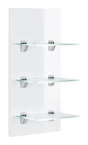 Posseik Möbel Wandreagal Viva in weiß hochglanz mit Glasablagen und LED Beleuchtung VIVALED000101DE