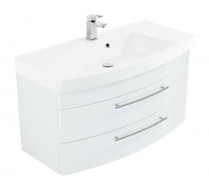 Posseik Waschplatz Luna 100 cm in weiß hochglanz mit Mineralgussbecken in weiß LUNA100000101DE