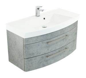 Posseik Waschplatz Luna 100 cm in Beton optik grau mit Mineralgussbecken in weiß LUNA100000216DE