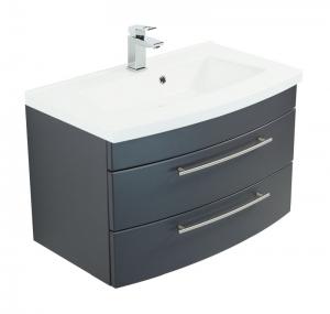 Posseik Waschplatz Luna 80 in anthrazit seidenglanz mit Mineralgussbecken in weiß LUNA80000104DE