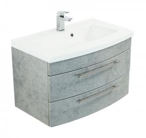 Posseik Waschplatz Luna 80 in Beton optik grau mit Mineralgussbecken in weiß LUNA80000216DE