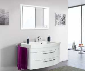 Posseik Bad Möbel Kombination Set Luna 100 in weiß hochglanz mit Mineralgussbecken und LED Spiegel LUNALED100000101DE