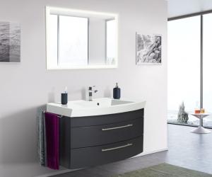 Posseik Bad Möbel Kombination Set Luna 100 in anthrazit seidenglanz mit Mineralgussbecken und LED Spiegel LUNALED100000104DE