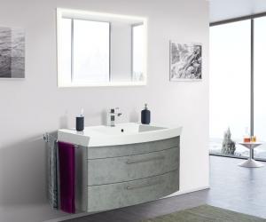 Posseik Bad Möbel Kombination Set Luna 100 in Beton optik mit Mineralgussbecken und LED Spiegel LUNALED100000216DE