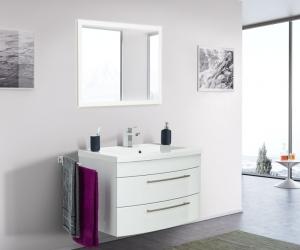 Posseik Bad Möbel Kombination Set Luna 80 in weiß hochglanz mit Mineralgussbecken und LED Spiegel LUNALED80000101DE