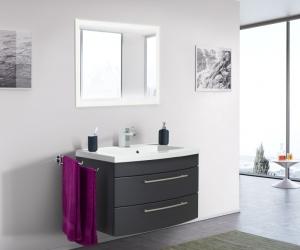 Posseik Bad Möbel Kombination Set Luna 80 in anthrazit seidenglanz mit Mineralgussbecken und LED Spiegel LUNALED80000104DE
