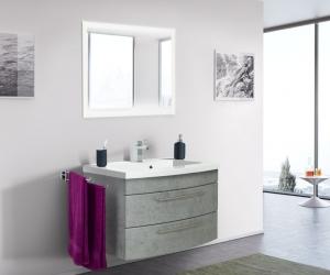 Posseik Bad Möbel Kombination Set Luna 80 in Beton optik mit Mineralgussbecken und LED Spiegel LUNALED80000216DE