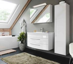 Posseik Bad Möbel Kombination Set Luna 100 in weiß hochglanz mit Mineralgussbecken LED Spiegelschrank Hochschrank LUNASET100000101DE