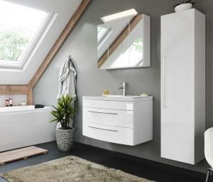 Posseik Bad Möbel Kombination Set Luna 80 in weiß hochglanz mit Mineralgussbecken LED Spiegelschrank Hochschrank LUNASET80000101DE