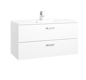 Held Möbel Waschtisch Bologna in hochglanz weiß 100 cm mit Vollauszügen inkl. Mineralgussbecken in weiß