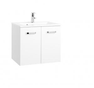 Held Möbel Waschtisch Bologna in hochglanz weiß 60 cm mit Türen inkl. Mineralgussbecken in weiß