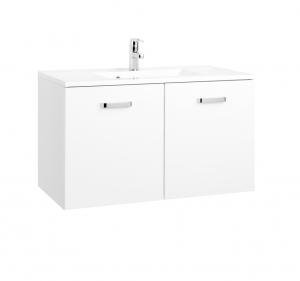 Held Möbel Waschtisch Bologna in hochglanz weiß 90 cm mit Türen inkl. Mineralgussbecken in weiß