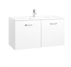 Held Möbel Waschtisch Bologna in hochglanz weiß 100 cm mit Türen inkl. Mineralgussbecken in weiß