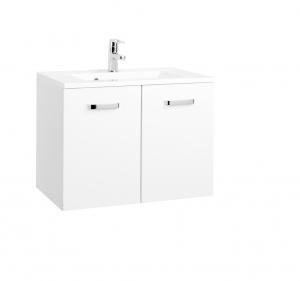 Held Möbel Waschtisch Bologna in hochglanz weiß 70 cm mit Türen inkl. Mineralgussbecken in weiß