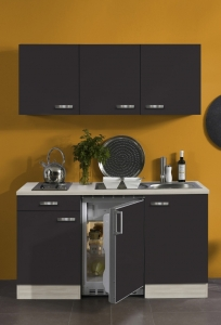 Optifit Jaka Singleküche Faro 150 cm breit in anthrazit mit Elektrogeräten und Edelstahl Einbauspüle