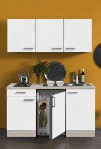 Optifit Jaka Singleküche Genf 150 cm breit in weiß matt mit Elektrogeräten und Edelstahl Einbauspüle