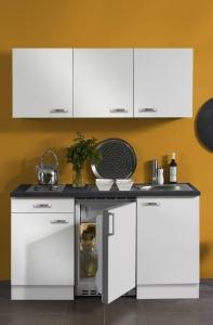 Optifit Jaka Singleküche Lagos 150 cm breit in weiß glänzend mit Elektrogeräten und Edelstahl Einbauspüle