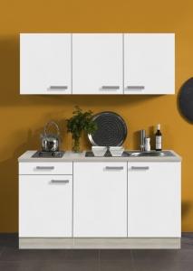 Optifit Jaka Singleküche Genf 150 cm breit in weiß matt mit Kochmulde und Einbauspüle in Edelstahl