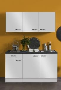 Optifit Jaka Singleküche Lagos 150 cm breit in weiß glänzend mit Kochmulde und Einbauspüle in Edelstahl