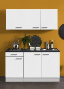 Optifit Jaka Singleküche Oslo 150 cm breit in weiß matt mit Kochmulde und Einbauspüle in Edelstahl