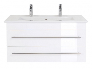 Villeroy und Boch Doppel Waschplatz Venticello in weiss hochglanz 100 cm mit Keramik Waschbecken in weiß IVENTICELLO100CMDOPPEL000101DE