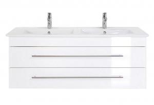 Villeroy und Boch Doppel Waschplatz Venticello in weiss hochglanz 130 cm mit Keramik Waschbecken in weiß IVENTICELLO130CMDOPPEL000101DE
