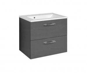 Held Möbel Waschtisch Portofino 60 cm in anthrazit inkl. Mineralgussbecken in weiß
