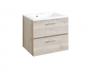 Held Möbel Waschtisch Portofino 60 cm in Buche Iconic Nachbildung inkl. Mineralgussbecken in weiß