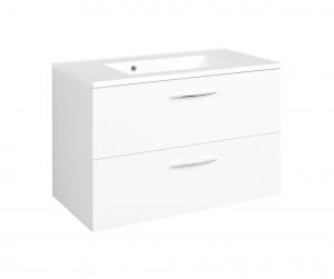 Held Möbel Waschtisch Portofino 80 cm in weiß inkl. Mineralgussbecken in weiß