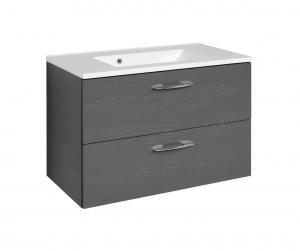 Held Möbel Waschtisch Portofino 80 cm in anthrazit inkl. Mineralgussbecken in weiß