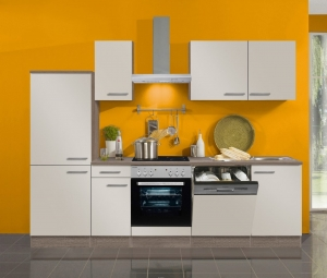 Optifit Jaka Küchenzeile Arta 270 cm mit Einbauspüle ohne Elektrogeräte in sahara beige glänzend (Geschirrspüler geeignet)