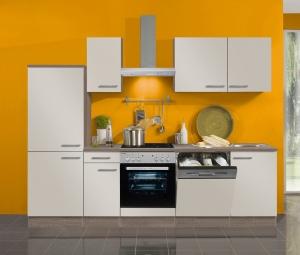 Optifit Jaka Küchenzeile Arta 270 cm mit Geschirrspüler und Glaskeramik Kochfeld in sahara beige glänzend