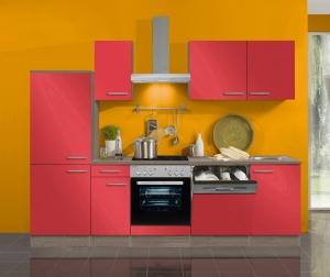 Optifit Jaka Küchenzeile Imola 270 cm mit Einbauspüle ohne Elektrogeräte in signalrot glänzend (Geschirrspüler geeignet)