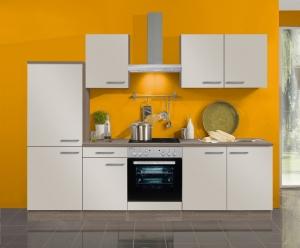Optifit Jaka Küchenzeile Arta 270 cm mit Glaskeramik Kochfeld in sahara beige glänzend