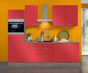 Optifit Jaka Küchenzeile Imola 270 cm mit Einbauspüle ohne Elektrogeräte in signalrot glänzend