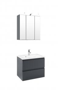 Held Möbel Waschtisch Set Cardiff 60 cm 2-teilig in hochglanz grau inkl. Mineralgussbecken in weiß 359.1.3103