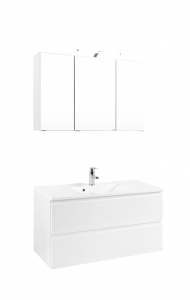 Held Möbel Waschtisch Set Cardiff 100 cm 2-teilig in hochglanz weiß inkl. Mineralgussbecken in weiß 360.1.3102