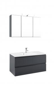Held Möbel Waschtisch Set Cardiff 100 cm 2-teilig in hochglanz grau inkl. Mineralgussbecken in weiß 360.1.3103