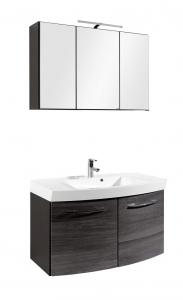 Held Möbel Waschtisch Set Florida 100 cm 2-teilig mit Türen in Eiche Rauchsilber Nachbildung inkl. Mineralgussbecken in weiß 374.1.3100