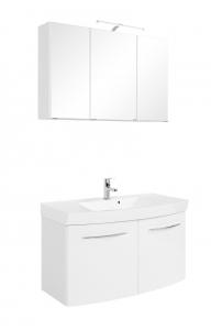 Held Möbel Waschtisch Set Florida 100 cm 2-teilig mit Türen in weiß hochglanz inkl. Mineralgussbecken in weiß 374.1.3101