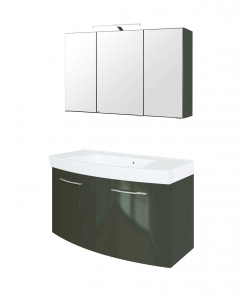 Held Möbel Waschtisch Set Florida 100 cm 2-teilig mit Türen in hochglanz grau inkl. Mineralgussbecken in weiß 374.1.3135
