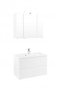 Held Möbel Waschtisch Set Cardiff 80 cm 2-teilig in hochglanz weiß inkl. Mineralgussbecken in weiß 385.1.3102